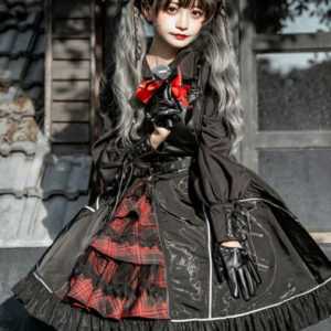 Milanoo Steampunk Lolita JSK Dress Neverland Floral Print Ruffles Black Sweet Lolita Jumper Skirt