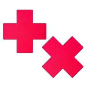 Pastease Plus X Neon Red Cross Pasties