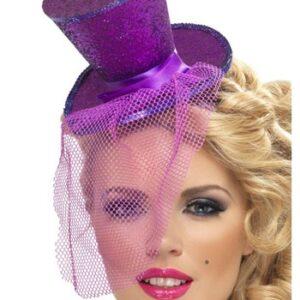 Purple Glitter Mini Top Hat