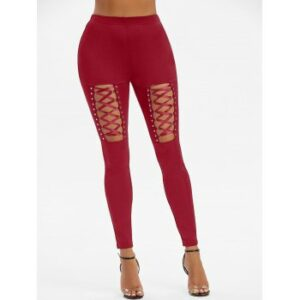 Rivet Detail Lace-up Gothic Leggings