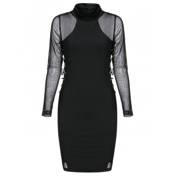 Rivet Embellished Mesh Insert Lace-up Gothic Bodycon Dress