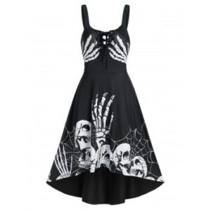 Skeleton Pattern Lace Up Gothic Cami Dress