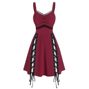 Sleeveless Lace Panel Lace-up Gothic Dress