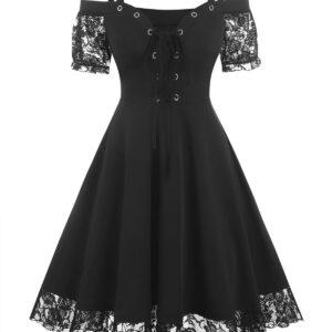 Cold Shoulder Flower Lace Insert Lace-up Gothic Dress Casual Dress For Ladies Women Cheap Clothes Sale Xxxl Black
