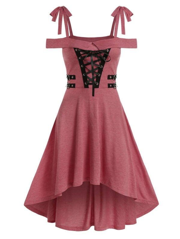 Cold Shoulder Lace-up High Low Gothic Dress Casual Dress For Ladies Women Cheap Clothes Sale 3xl Pink rose