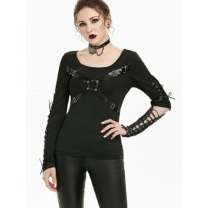 Cut Out Elbow Lace-up Harness Insert Gothic T-shirt