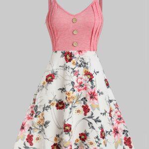 Floral Print Mock Button High Waist Cami Dress Women Print Dress Hot Sale 2019 Online Shopping L Pink rose