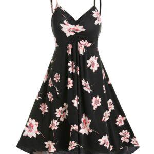 Floral Print Ruched Cami A Line Dress Women Print Dress Hot Sale 2019 Online Shopping M Black
