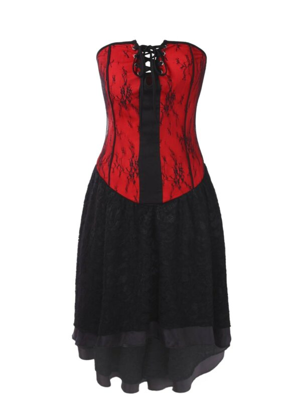 Gothic Bandeau Strapless Lace Corset Dress 50s Dress Style For Women Hot Sale 2019 Online Clothing Stores L Red