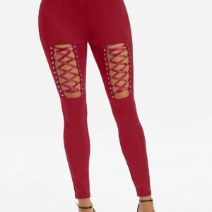 High Waisted Rivet Detail Lace-up Gothic Leggings Bottoms Pants For Women Ladies Online Shopping M Red wine