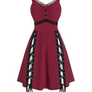 Lace Panel Sleeveless Lace-up Gothic Dress Casual Dress For Ladies Women Cheap Clothes Sale L Red wine
