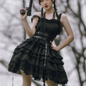 Milanoo Gothic Lolita JSK Dress Black Sleeveless Lace Up Ruffles Satin Fabric Casual Lolita Jumper Skirt