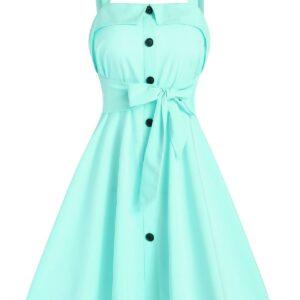 Mock Button Tie Waist Cami A Line Dress Casual Dress For Ladies Women Cheap Clothes Sale 3xl Aquamarine