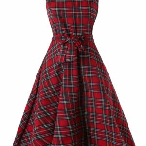 Vintage Tartan Mid Swing Dress 50s Dress Style For Women Hot Sale 2019 Online Clothing Stores M Cherry red
