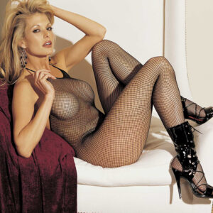 Fishnet Halter Tie Body Stocking With Open Crotch - One Size - Black